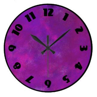Purple and Pink Watercolor Abstract Texture Wallclock