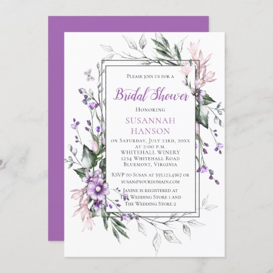 Purple and Pink Watercolor Flowers Bridal Shower Invitation