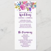 Purple and Pink Watercolor Flowers Wedding Program