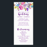 """Purple and Pink Watercolor Flowers Wedding Program<br><div class=""""desc"""">This purple and pink watercolor flowers wedding program is perfect for a floral theme wedding. The design features bright magenta, pink, plum purple and blue flowers, and a lovely bold script font. Include the name of the bride and groom, the wedding date and location, thank you message, order of service,...</div>"""