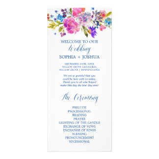 Purple and Pink Watercolor Flowers Wedding Program