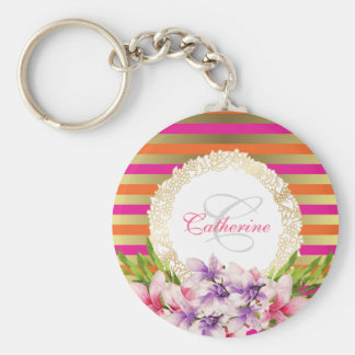 Purple and Pink Watercolor Magnolia Personalized Keychain