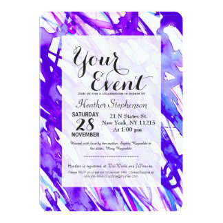 Purple and Pink Watercolor Paint Splatter Card