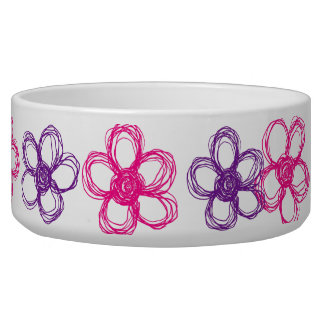Purple and Pink Wild Flowers Dog Bowls