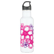 Purple and Pink Wild Flowers Water Bottle