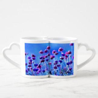 Purple and Pink Wildflowers Couples Mug