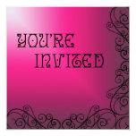 "Purple and Pink with Black Swrils Invitation 5.25"" Square Invitation Card"