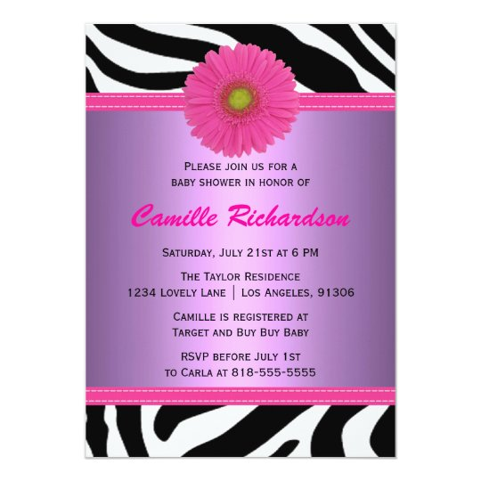 Purple and Pink, Zebra, Girl Baby Shower Card
