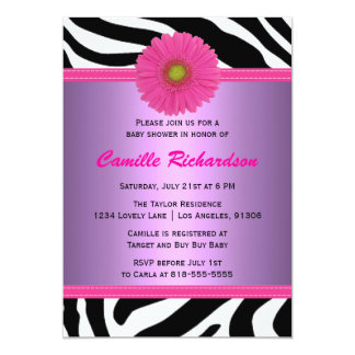 Purple and Pink, Zebra, Girl Baby Shower 5x7 Paper Invitation Card