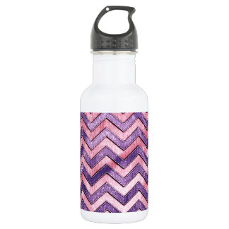 Purple and Pink Zig Zag Stainless Steel Water Bottle