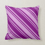 [ Thumbnail: Purple and Plum Stripes/Lines Pattern Throw Pillow ]