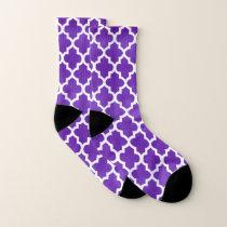 Purple and Quatrefoil Pattern Socks