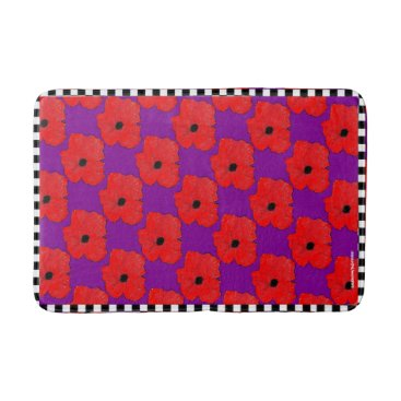 Beach Themed Purple and Really Red Poppy Flower Power Bath Mat