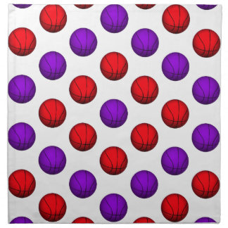 Purple and Red Basketball Pattern Cloth Napkin