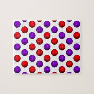 Purple and Red Basketball Pattern Jigsaw Puzzle