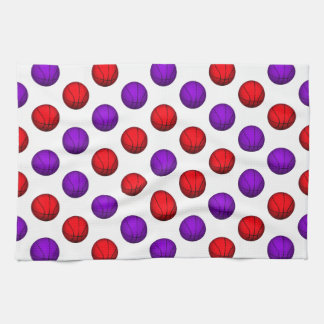 Purple and Red Basketball Pattern Kitchen Towels