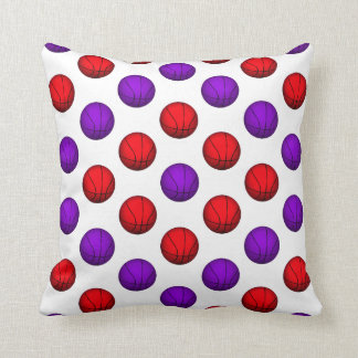 Purple and Red Basketball Pattern Pillow