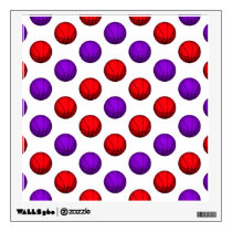 Purple and Red Basketball Pattern Wall Sticker