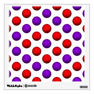 Purple and Red Basketball Pattern Wall Sticker