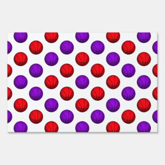 Purple and Red Basketball Pattern Lawn Sign