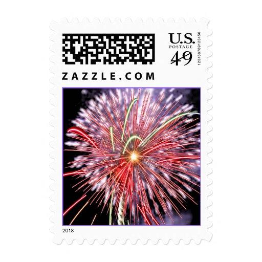 Purple and Red Fireworks Celebration Postage Stamp