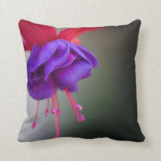Purple and Red Fuchsia Flower Pillow