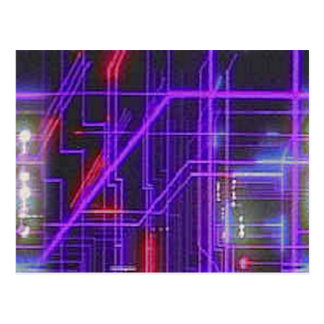 Purple and red glowing lines postcard