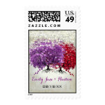 Purple and Red Heart Leaf Tree Wedding Postage