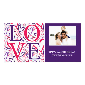 Purple and Red Hearts Pattern Valentines Day Photo Card