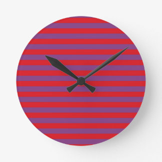 Purple and Red Stripes Clock