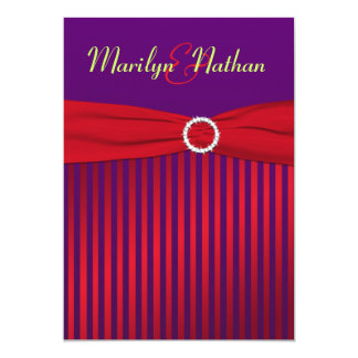 "Purple and Red Stripes with Green Wedding Invite 5"" X 7"" Invitation Card"