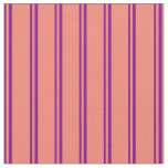 [ Thumbnail: Purple and Salmon Colored Pattern Fabric ]