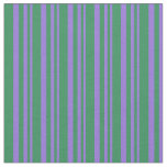 [ Thumbnail: Purple and Sea Green Colored Stripes Fabric ]