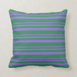 [ Thumbnail: Purple and Sea Green Colored Stripes Throw Pillow ]