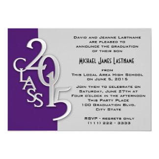 """Purple and Silver 2015 Graduation Invitation 5"""" X 7"""" Invitation Card"""