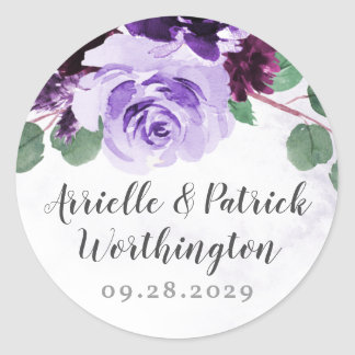 Purple and Silver Airy Floral Vintage Wedding Classic Round Sticker