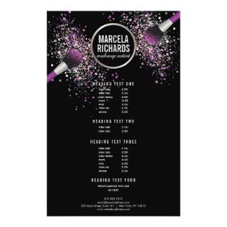 Purple and Silver Blush Confetti Makeup Artist Flyer