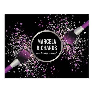 Purple and Silver Blush Confetti Makeup Artist Postcard
