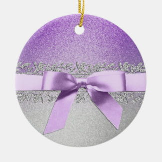 Purple and Silver Bow Christmas Ornament