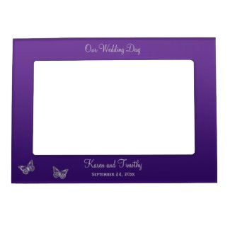 Purple and Silver Butterflies Magnetic Frame