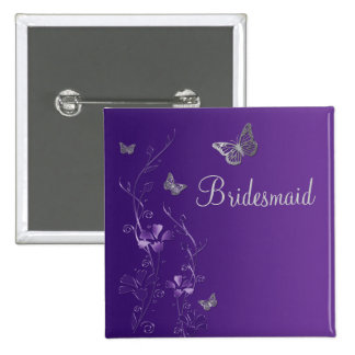 Purple and Silver Butterfly Floral Bridesmaid Pin