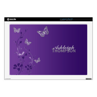 Purple and Silver Butterfly Floral Laptop Skin