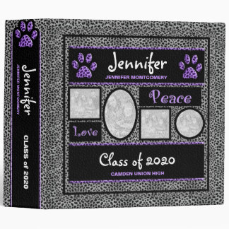 Purple and Silver Cheetah School Photo Binder