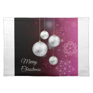 Purple and silver christmas tree balls placemat