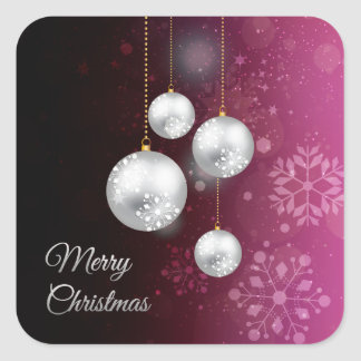 Purple and silver christmas tree balls square sticker