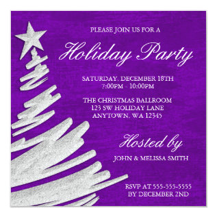 Purple and Silver Christmas Tree Holiday Party Card at Zazzle