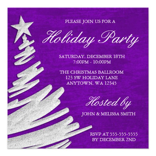 Purple and Silver Christmas Tree Holiday Party Invitation from Zazzle ...