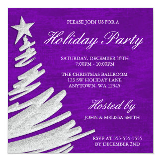 Purple and Silver Christmas Tree Holiday Party Invitation