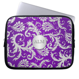 Purple and Silver Damask Laptop Sleeve