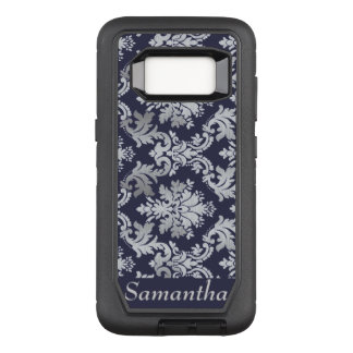 Purple and Silver Damask Name Case